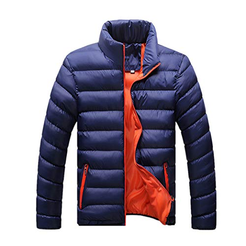 Outwear Solid Lightweight zhbotaolang Cotton Blue Winter Warm Color Men's Dark Jackets Clothing Coat xYwB1BFqP