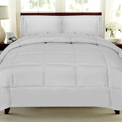 Sweet Home Collection Goose Down Alternative Reversible All-Season Comforter, Queen, Silver,Queen