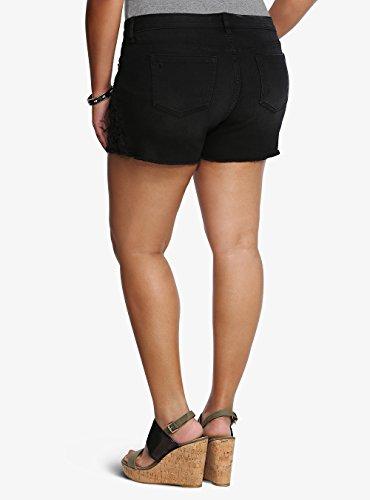 Torrid Skinny Short Shorts - Black Wash with Crochet Lace