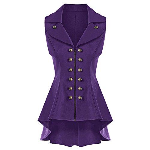 Desirca+Long+Vest+Coat+Women+Sleeveless+Lapel+High+Low+Dressy+Waistcoat+Solid+Vest+Jacket+Ladies+Office+Coat+Purple+Xxl