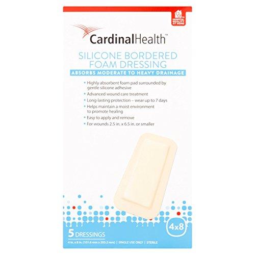 Biatain Adhesive Foam Dressing - Cardinal Health BFM48R Silicone Bordered Foam Bandage 4-inch x 8-inch (5), 5 Count