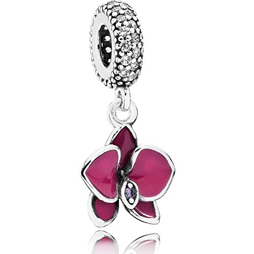 Pandora 791554en69 Dangle Orchid Charm by PANDORA