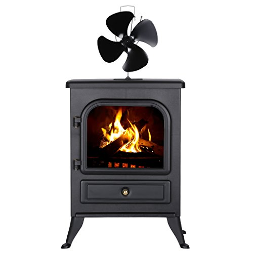Warm air quiet 4 blade heat powered eco friendly for Eco friendly fireplace