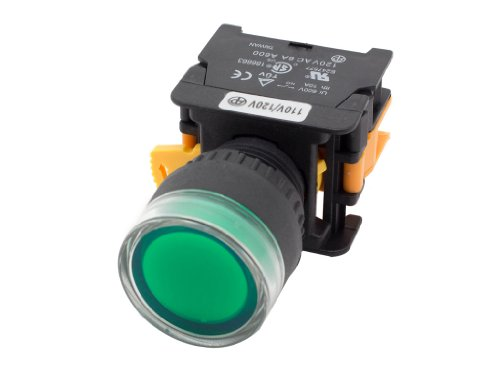 Alpinetech LXG-22 Green 22mm 1NO Momentary Push Button Switch 220V LED Illuminated