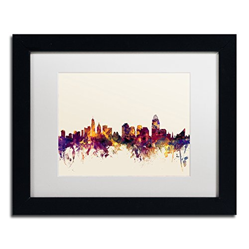 Cincinnati Ohio Skyline IV by Michael Tompsett in White Matte and Black Framed Artwork, 11 by (Cincinnati Ohio Usa Framed)