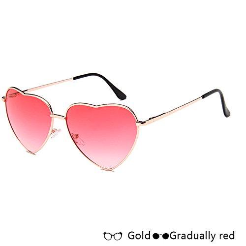 De Atrás Oro Azul TIANLIANG04 W red Rosa Gafas Sol Moda Lujo Corazón Gafas Sol Forma De De W Gold De En De Gradually Mujer aax0wqvU