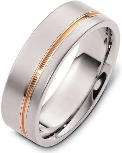 - Stylish 7mm Titanium and 14 Karat Yellow Gold Wedding Band Ring - 8