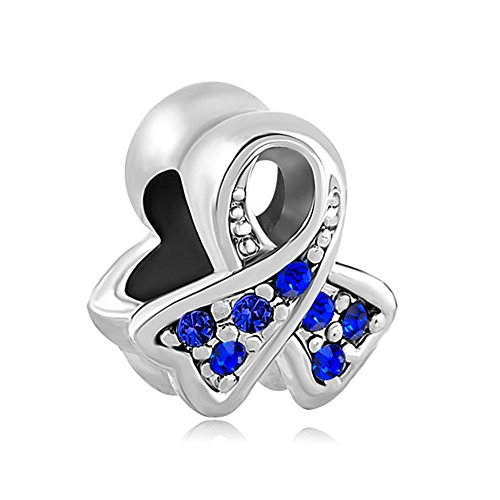 ThirdTimeCharm Breast Cancer Awareness Ribbon Charm European Bead with Deep Blue Crystals Blue Awareness Ribbon Charm