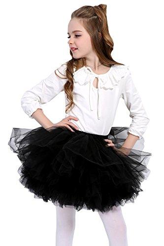 Aivtalk Baby Girls Ballet Skirt Soft Voile Elastic Waistband Princess Style Retro Bubble Skirt 2-3T Black by Aivtalk
