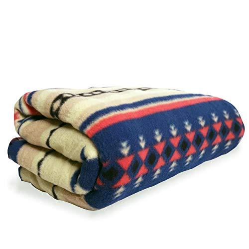 Southwest Fleece Blanket - Southwest Design (Navajo Print) Comfy Fleece Throw Blanket (Navy_Beige)