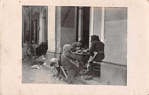 People Sewing Street Scene Real Photo Antique Postcard J66455