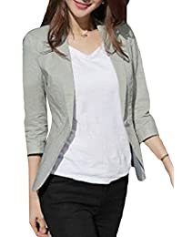 Jotebriyo Womens Solid Cotton Linen Business One Button Summer Dress 3/4 Sleeve Blazer Jacket Coat