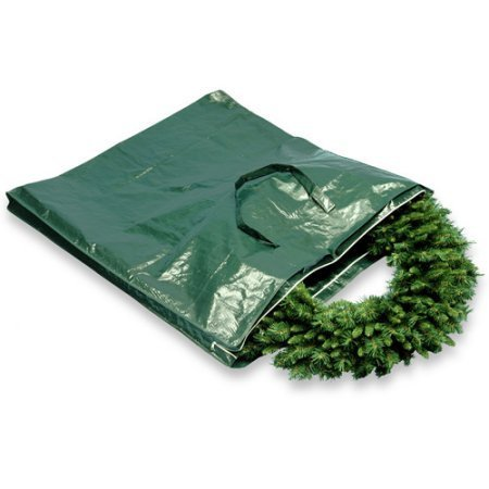 Heavy-Duty Wreath and Garland Storage Bag with Handles and Zipper, Fits up to 4' Decorated Wreath by National Tree