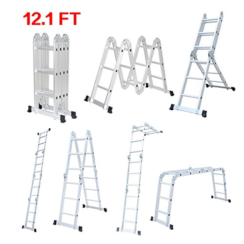 Finether 12.1 ft Folding Ladder Heavy Duty Multi Purpose ...
