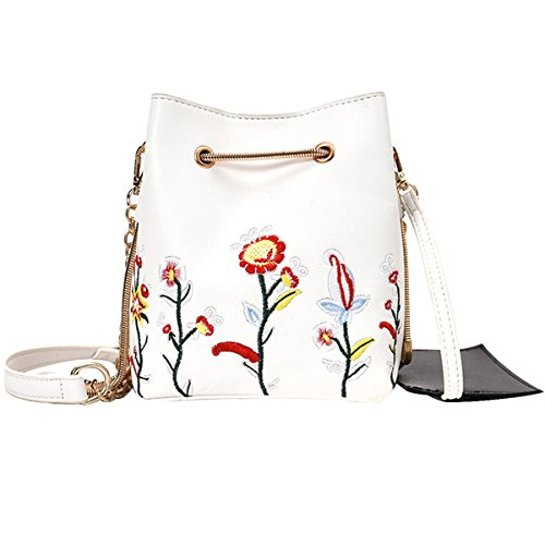 Mini Printed Crossbody Chain with Embroider Bag Bag Drawstring White Shoulder Bag LABANCA Womens Bucket Floral v5q5wPX