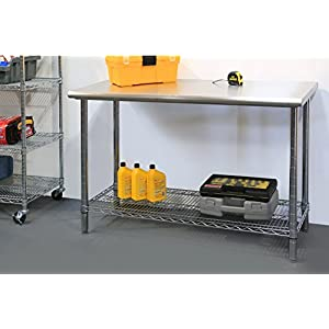 Seville Classics Commercial Stainless Steel Top Worktable
