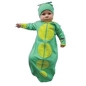 Sozo Unisex-baby Newborn Sweet Pea Bunting and Cap Set, Green, 0-6 months