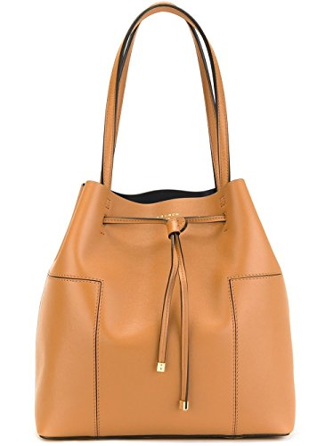 Tory Burch Block T Drawstring Shoulder Leather Bag Tote - British - Bag Burch Tory Brown