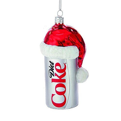 Hat Glass Ornament Santa (Kurt Adler CC4163 Glass Diet Coke Can Ornament with Santa Hat, 4.5