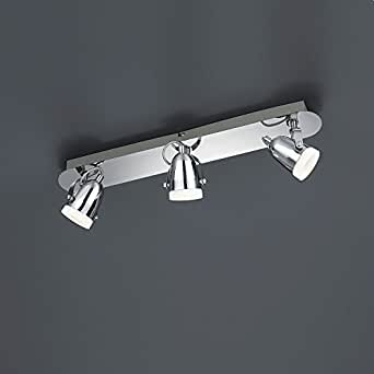 De estilo moderno LED-techo de - 3-lámpara de techo de metal cromado con protector de pantalla de cristal blanco - con diseño de 3 x 4,5 Watt LED y linterna