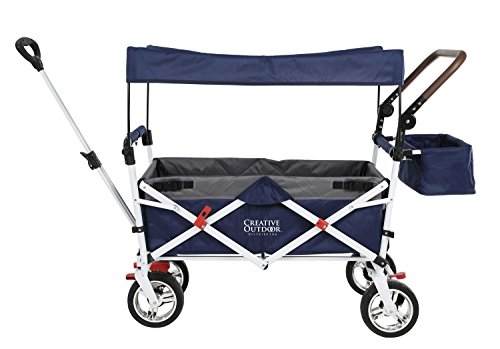 Push Pull Wagon for Kids, Foldable with Sun/Rain Shade (Navy Gray)