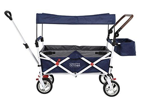 Push Pull Wagon for Kids, Foldable with Sun/Rain Shade (Navy Gray)