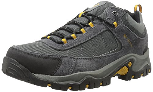 (Columbia Men's GRANITE RIDGE WATERPROOF WIDE Hiking Shoe, Dark Grey, Golden Yellow, 14 2E US)
