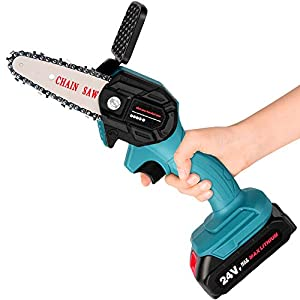 Mini Chainsaw, 4-Inch Guide Plate, 24V High Power Chainsaw, with 2 Batteries and 2 Chains, Household Lightweight…