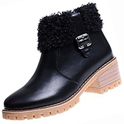 Black US5.5   EU36   UK3.5   CN35 Black US5.5   EU36   UK3.5   CN35 HSXZ Women's shoes PU Winter Fall Comfort Fashion Boots Boots Chunky Heel Round Toe Booties Ankle Boots for Casual Beige Black