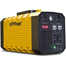 ExpertPower Omega 288 Portable Generator Lithium-ion 12V 26AH 288WH Uninterruptible Power Supply with 500W PURE SINE WAVE for Outdoor and Indoor Use + Bundle and Jump Start Function (Grey)