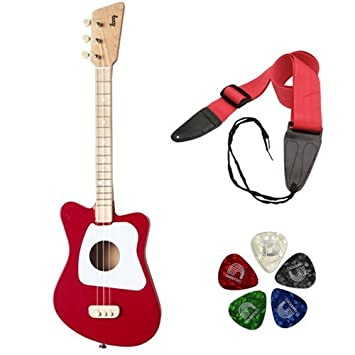 LOOG Mini Guitar for Children (Black) with GSA10BK Guitar Strap and Guitar Pick 10-Pack Bundle Kellards
