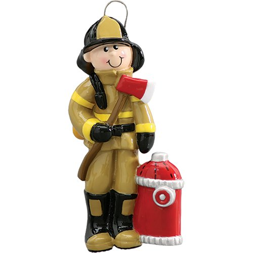 Personalized Fireman Christmas Ornament 2018 - Firefighter Male in Brown Uniform with Axe Red Hydrant - Incident Emergency Rescue Driver Coworker New Job Agent Academy Profession - Free Customization