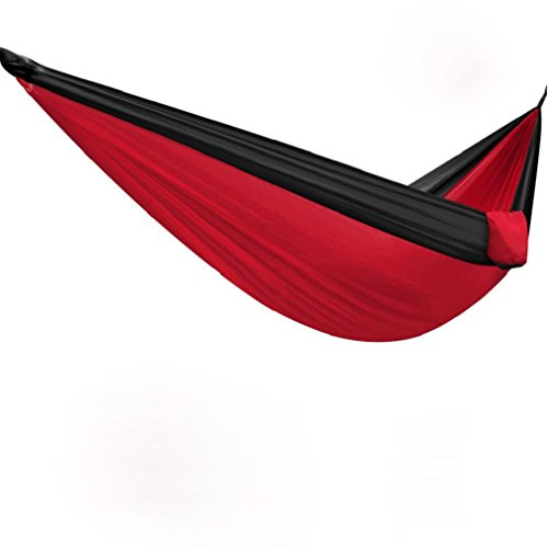 Camping Hammock, SharkShake 125 x 79 XL Double Parachute Portable Hammock For Backpacking, Hiking, Traveling, The Beach And Yard Durable Rip-Stop Fabric With Ropes And Carabiners Red Black