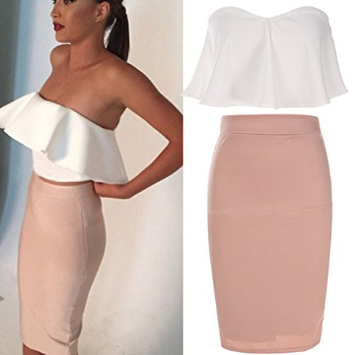 Dolland Women's Crop Top & Skirt Outfit Two Piece Bodycon Bandage Party Dresses,White,S by Dolland (Image #5)