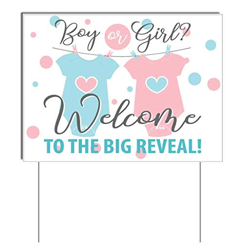 VictoryStore Gender Reveal Decorations Gender Reveal Welcome Sign The Big Reveal Boy or Girl 17 Inches x 23 Inches Sign Set of 2 Includes 4 Stakes ()