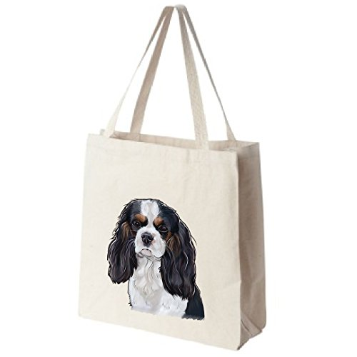 Cavalier King Charles Spaniel (Tri-Color) Dog Tote Bags - Over 200 Different Breed and Animal Designs to Choose From - Extra Large 100% Cotton Handbags - Painted by Hand and Printed in the U.S.A. - Cavalier Spaniel Tri Color