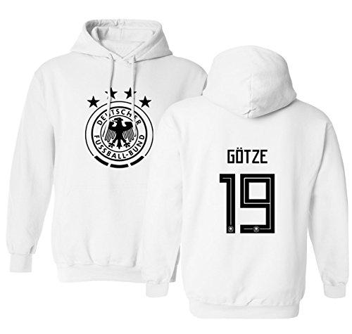 Tcamp Germany 2018 National Soccer #19 Mario GOTZE World Championship Men's Hooded Sweatshirt (White, Adult Medium)