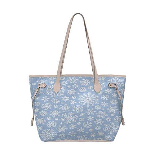 Snowflake Doodles - InterestPrint Tote Bags Women's Handbags Ladies Shoulder Bag Christmas Doodle Pattern With Snowflakes
