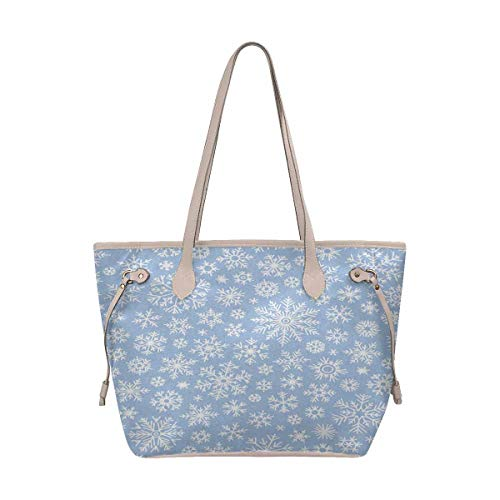 (InterestPrint Tote Bags Women's Handbags Ladies Shoulder Bag Christmas Doodle Pattern With Snowflakes)