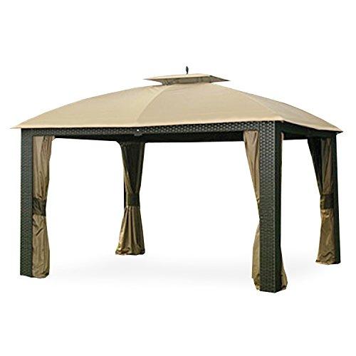 Riviera Wicker Gazebo Replacement Canopy and Netting Set - RipLock (Wicker Finial)