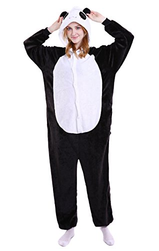 - Vanbuy Adult Panda Onesie Pajamas Animal Kigurumi Halloween Cosplay Costume Z15NEW-White-M