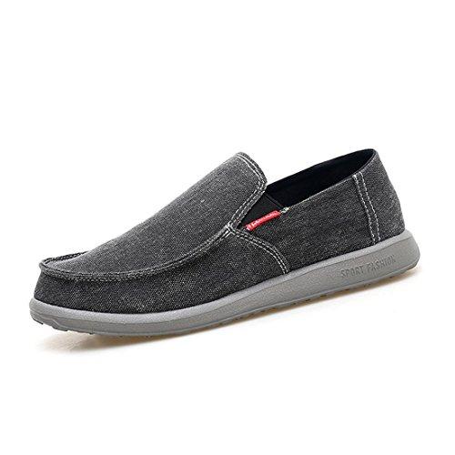 Hombres Barco Zapatos La Zapatillas On Oscuro De Gris Slip Mocasines Lona De Lona De Deporte De Zapatos Moda Ocasionales De De Los aq4Hrq