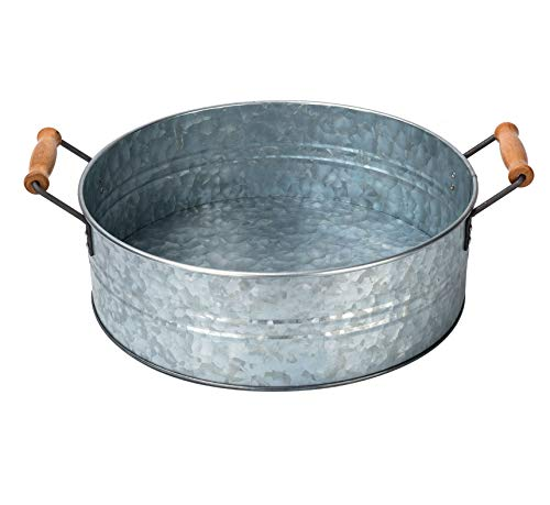 OUTSHINE Rustic Farmhouse Galvanized Metal Tray Tub and Wood Handles- Kitchen Bathroom Living Room Décor, Centerpiece, Storage - 12.2