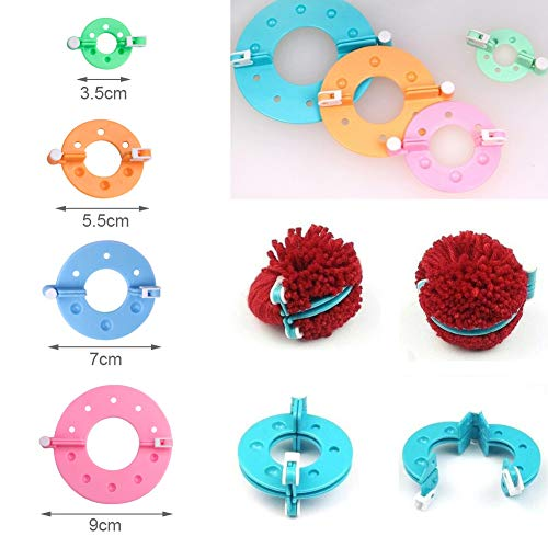 Vidillo Knitter Looms Set, 5 Size Round Knitting Looms Set Scraf Hat Maker, Plastic Round Knitting with 4 Size Pompom Maker and Knitting Needle and Hook for DIY Use by Vidillo (Image #4)