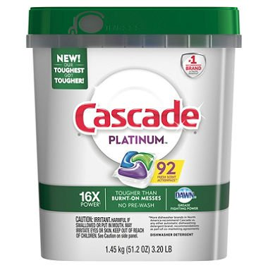 Cascade Platinum Actionpacs Fresh Scent Dishwasher Detergent 80 Count
