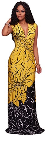 Eleganlife Women Floral Print Deep V Neck Sleeveless Bodycon Cocktail Party Long Maxi Dress Yellow XLarge (Yellow Dresses For Women Evening)
