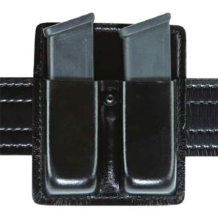 Safariland 73 Double Magazine, Open Top, Black, STX Basketweave Double Open Top Handcuff Case