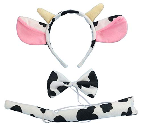 kinzd Kids Mouse Dalmatian Antlers Wolf Tiger Party Halloween Christmas Costume (Milk Cow)]()