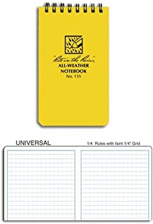 "product image for Rite in the Rain All-Weather Top-Spiral Notebook, 3"" x 5"", Yellow Cover, Universal Pattern, 3 Pack (No. 135-3)"