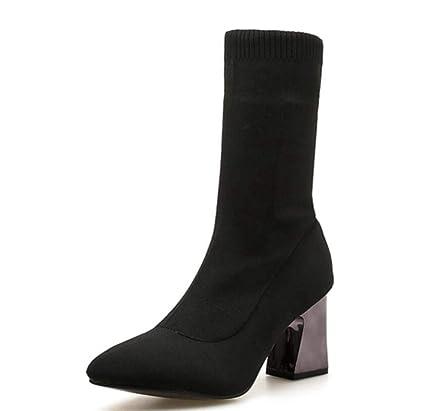 Shiney Botines para Mujer Hembra Punta Estrecha Tacón Grueso Medias Botas Zapatos De Boda De Tacón